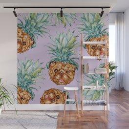 Pineapple English Bulldog Watercolor Wall Mural