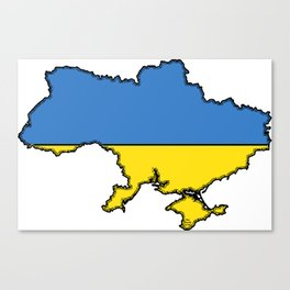 Ukraine Map with Ukrainian Flag Canvas Print
