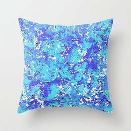 Squashed Blue Frog in a Sea of Aqua Blue Abstract Stained Glass Effect Throw Pillow
