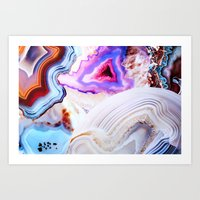 agate Art Prints featuring Agate, a vivid Metamorphic rock on Fire by Elena Kulikova