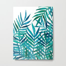 Watercolor Palm Leaves on White Metal Print
