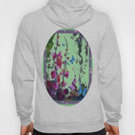 Minty Green Purple-pink Hollyhocks & Blue Buttery Art Hoody