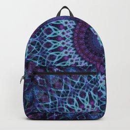 Mandala in dark and light blue tones Backpack