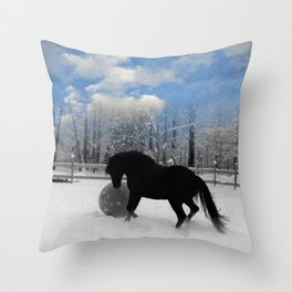 Black Horse Blue Sky Winter Snow Day  Throw Pillow