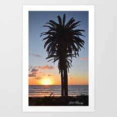 Southern California Sunset Palm Tree Art Print