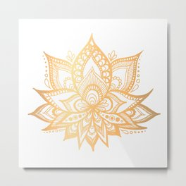 Gold Lotus Flower Metal Print