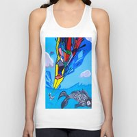 transformer Tank Tops featuring Trippy Transformer Bird Mixed Media Painting on Canvas by VibrationsArt