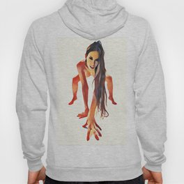 2282s-JAL  Beautiful Nude Avonelle On Her Toes and Fingers Long Hair Hanging Down Hoody