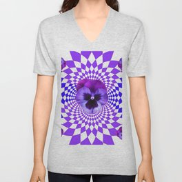 OPTICAL LILAC  PURPLE PANSIES GEOMETRIC ART Unisex V-Neck