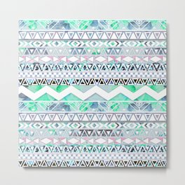 Teal Girly Floral White Abstract Aztec Pattern Metal Print