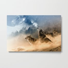Howling Wolves Moonlight Wolf Wild Animals Moon Metal Print