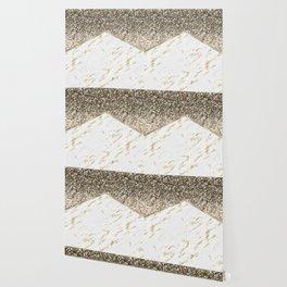 Shimmering mixed golds chevron Wallpaper