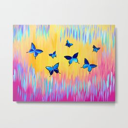 Butterflies and Abstract Colours Metal Print