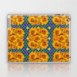 BLOCKS OF YELLOW SUNFLOWERS ON TEAL & PURPLE PATTERN Laptop & iPad Skin