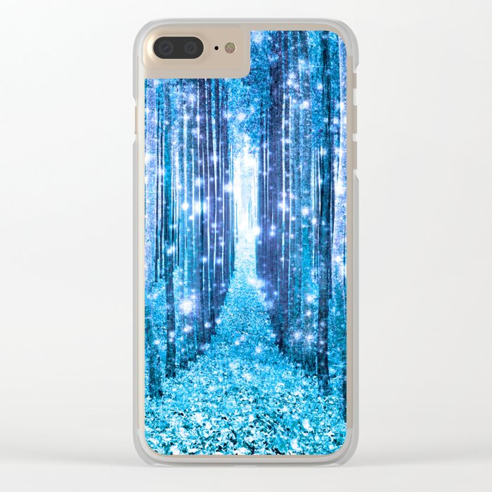 Magical Forest  Light Blue Turquoise Clear iPhone Case