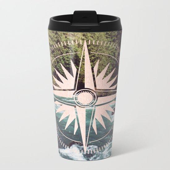 Rose Gold River Compass Metal Travel Mug
