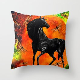 HORSE MOON AND DRAGONFLY VISIONS Throw Pillow