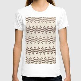 Vintage white brown faux leather geometrical chevron T-shirt