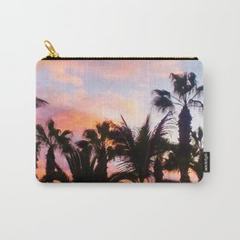 sunset and dark black palm trees Carry-All Pouch