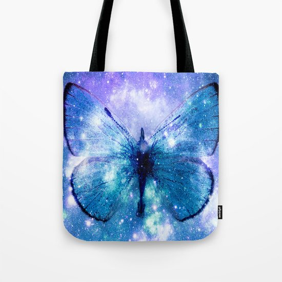 Celestial Butterfly Violet Teal Tote Bag
