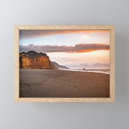 A cliff at sunset Framed Mini Art Print