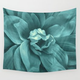 Soft Teal Flower Wall Tapestry