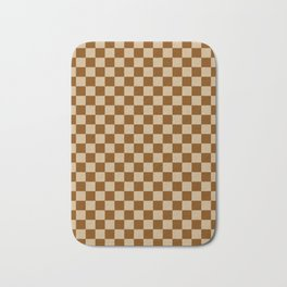 Tan Brown and Chocolate Brown Checkerboard Bath Mat