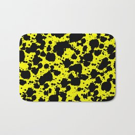 Bright Yellow and Black Funny Leopard Style Paint Splash Pattern Bath Mat