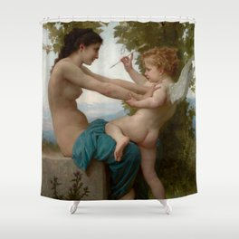 """William-Adolphe Bouguereau """"A Young Girl Defending Herself against Eros"""" Shower Curtain"""