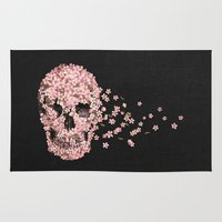 skull Area & Throw Rugs featuring A Beautiful Death  by Terry Fan