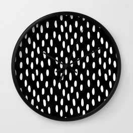 Watercolor Dots Black-and-White Wall Clock