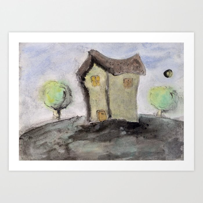 House with trees Art Print