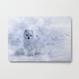 Watercolor Arctic Fox Metal Print