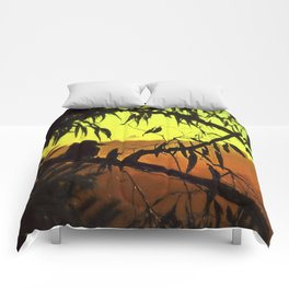 Kookaburra Silhouette Sunset Comforters