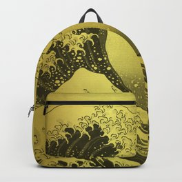 Golden Japanese Great Wave off Kanagawa by Hokusai Backpack