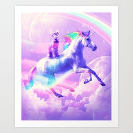 Kitty Cat Riding On Flying Unicorn With Rainbow Art Print