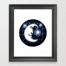 Moon and Stars Trellis Framed Art Print