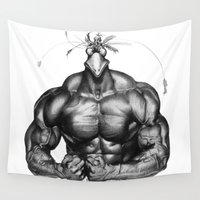 fitness Wall Tapestries featuring strong bird by Кaterina Кalinich