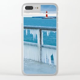Mole with lighthouse in Warnemuende Clear iPhone Case