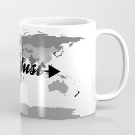 Wanderlust Black and White Map Coffee Mug
