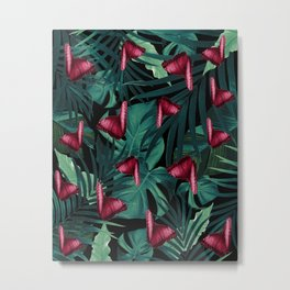 Tropical Butterfly Jungle Night Leaves Pattern #3 #tropical #decor #art #society6 Metal Print
