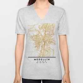 MEDELLÍN COLOMBIA CITY STREET MAP ART Unisex V-Neck