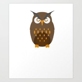 Not A Morning Person Funny Lazy Owl Night Hunter Nocturnal Birds Wildlife Gift Art Print