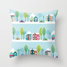 Ski house Throw Pillow