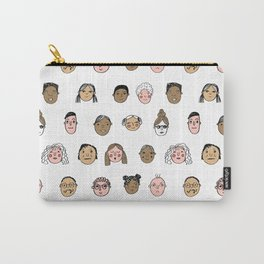 Faces people illustration hand drawn different people all shapes and sizes pattern Carry-All Pouch