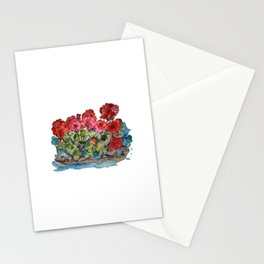 Red Geraniums painting Stationery Cards