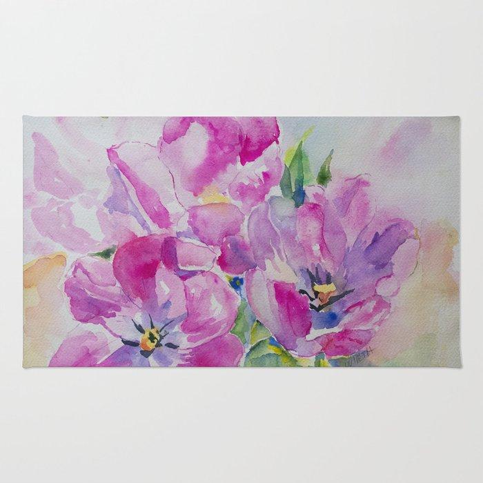 Watercolor Tulip Rug