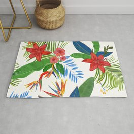 Heaven Bird Flower, Lily and Frangipani Tropical Flowers Pattern Rug