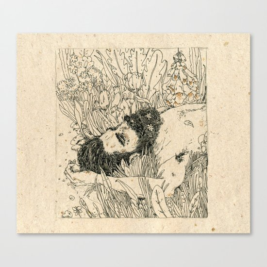Drowning in foxdowns. Canvas Print