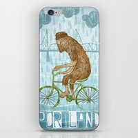 bigfoot iPhone & iPod Skins featuring Dirty Wet Bigfoot Hipster by Santiago Uceda
